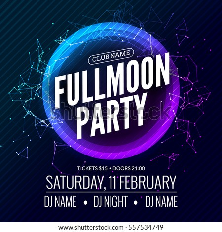 fullmoon party design flyer disco party stock vector royalty free
