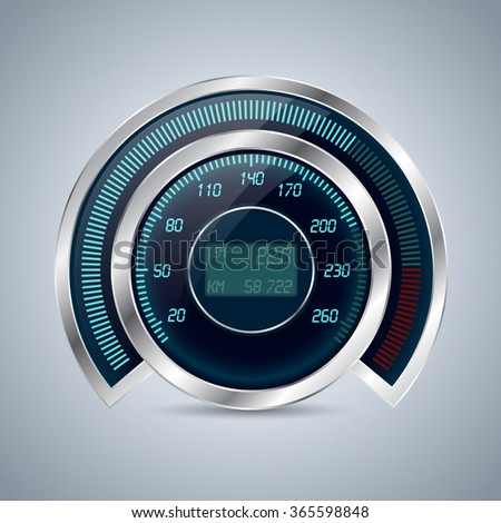Fully digital speedometer rev counter with lcd display in the middle - stock vector