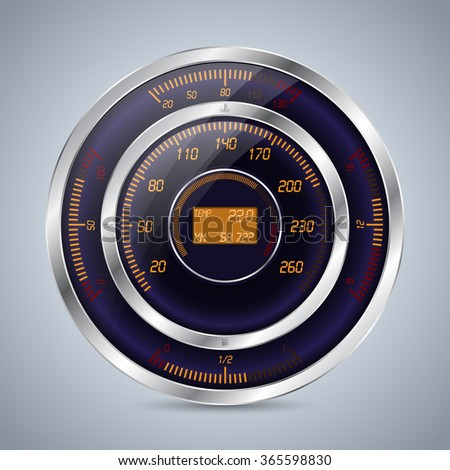 Fully digital speedometer rev counter with other instruments - stock vector