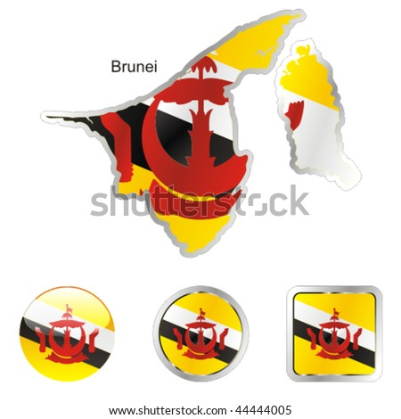 fully editable flag of brunei in map and internet buttons shape - stock vector