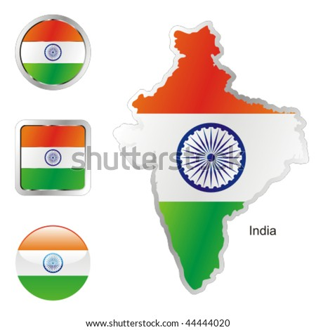 fully editable flag of india in map and internet buttons shape - stock vector
