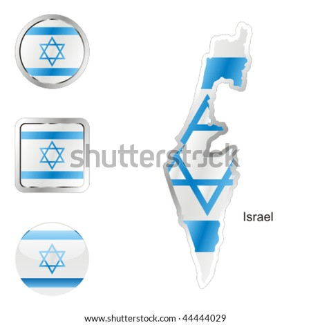fully editable flag of israel in map and internet buttons shape - stock vector