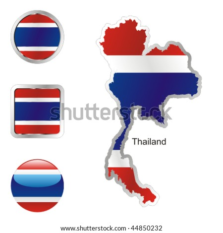 fully editable flag of thailand in map and internet buttons shape - stock vector