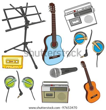 fully editable illustration music items - stock vector