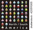fully editable isolated american flags in christmas bulbs shape - stock vector