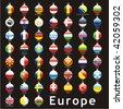 fully editable isolated european flags in christmas bulbs shape - stock vector