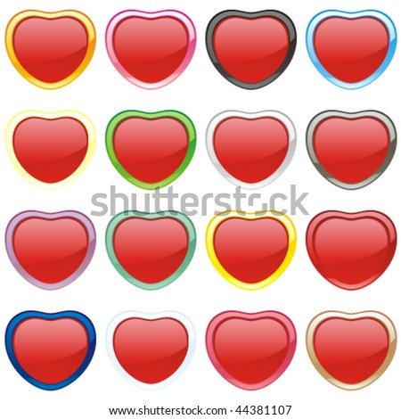 fully editable vector buttons in heart shape