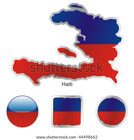 fully editable vector flag of haiti in map and web buttons shapes
