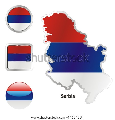 fully editable vector flag of serbia in map and web buttons shapes