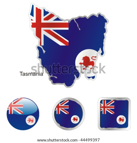 fully editable vector flag of tasmania in map and web buttons shapes