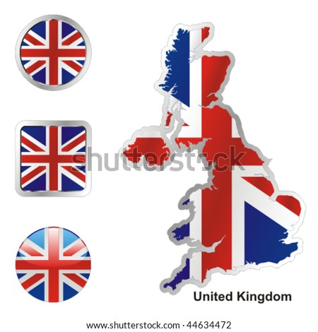 fully editable vector flag of united kingdom in map and web buttons shapes - stock vector
