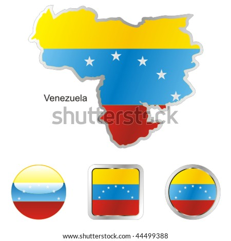 fully editable vector flag of venezuela in map and web buttons shapes