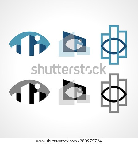 Fully editable vector illustration of a corporate construction logo. It merges building symbols with an eye to represent the planning part of assembly.  - stock vector