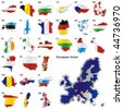 fully editable vector illustration of all twenty-seven Member States of the European Union in map shape - stock photo