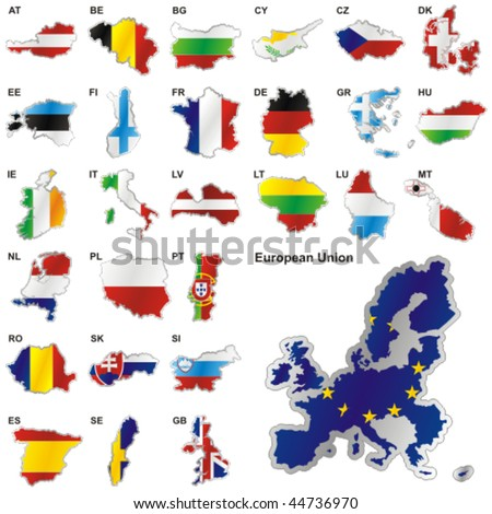 fully editable vector illustration of all twenty-seven Member States of the European Union in map shape - stock vector