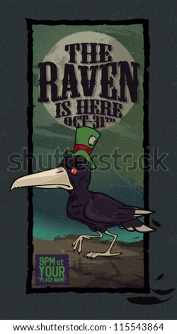 Fully editable vector illustration of  evil raven walking on haunted grounds - stock vector