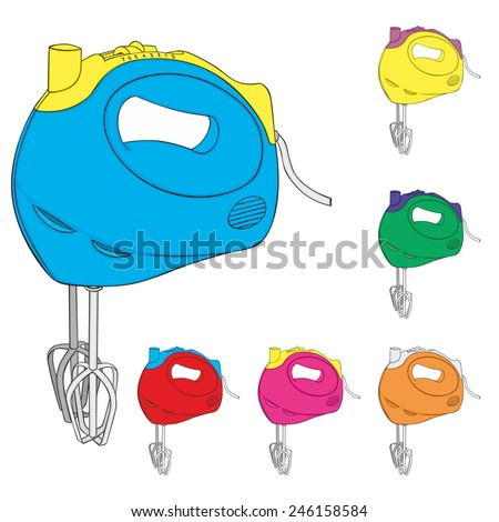 fully editable vector illustration of isolated Kitchen hand mixer - stock vector