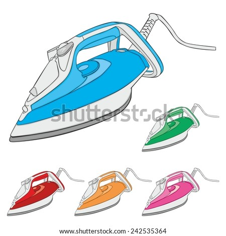 fully editable vector illustration of steam irons - stock vector