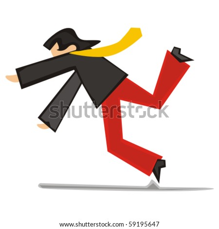fully editable vector illustration of stylized man falling down - stock vector