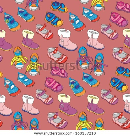 fully editable vector illustration with seamless shoes
