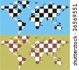 fully editable vector world map with chess pattern - stock photo