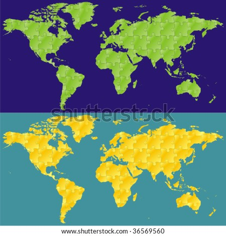 Fully editable vector world map puzzle vectores en stock 36569560 fully editable vector world map with puzzle pattern gumiabroncs Images