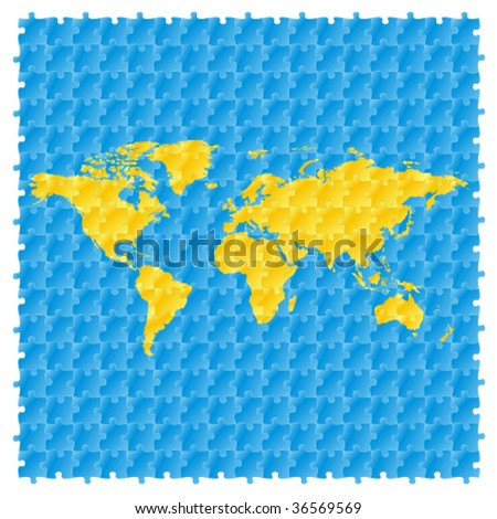Fully editable vector world map puzzle stock vector 36569569 fully editable vector world map with puzzle pattern gumiabroncs Choice Image