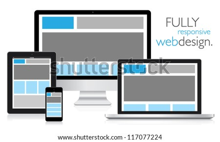 Fully responsive web design in electronic devices vector eps10 - stock vector
