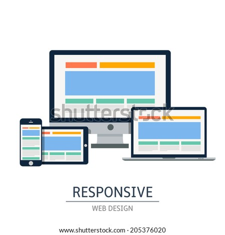 Fully responsive web design in electronic devices. Vector eps10 illustration - stock vector
