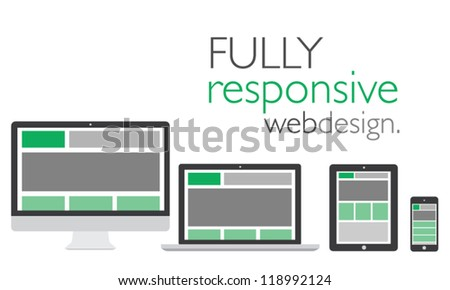 Fully responsive web design in electronic icon devices vector eps10 - stock vector
