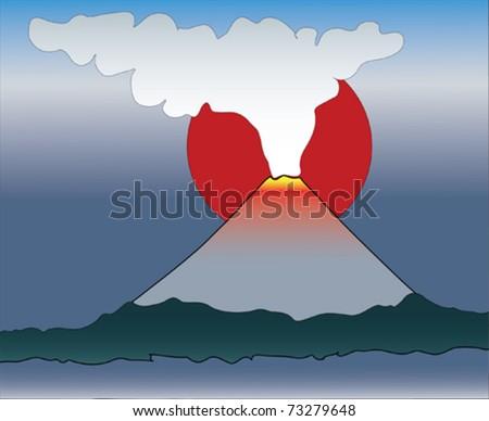 Fuming volcano - stock vector