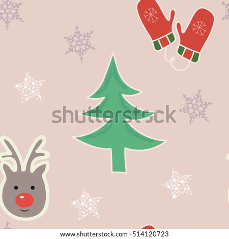 Fun and bright festive seamless repeat featuring a deer, Christmas tree, mittens and  snowflakes on a pastel soft pink background. Vector pattern with hand drawn elements.