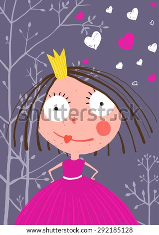 Fun and Cute Little Princess in Dark Forest with Love. Colored greeting card for little kids holidays with a curious princess in beautiful dress. - stock vector