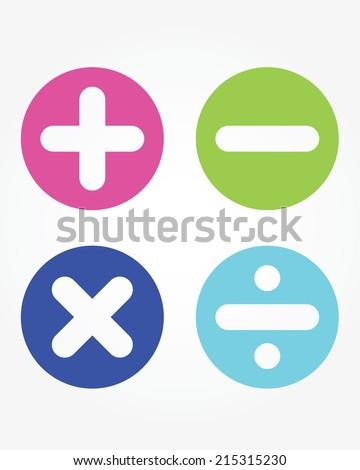 Fun and cute vector children's math symbols - stock vector