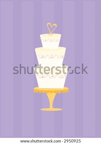 Fun and festive wedding cake with heart-shaped topper. May be used  with or without background.