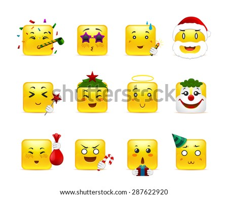 Fun and joy in the country anime square smiles on winter vacation - stock vector