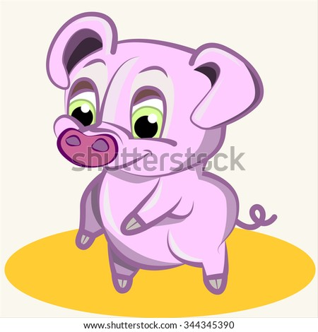Fun animal. Cartoon vector Illustration of cute funny  pink pig - stock vector