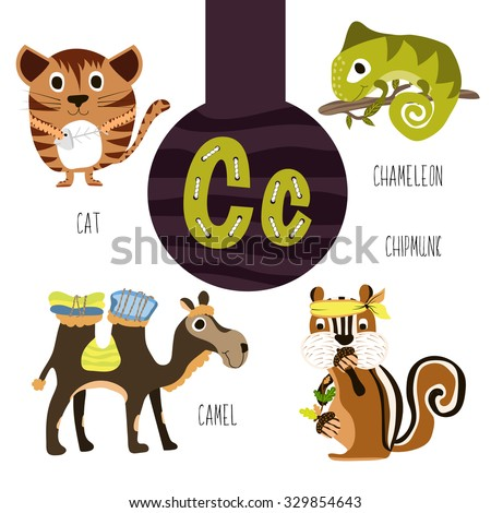fun animal letters alphabet development learning stock vector
