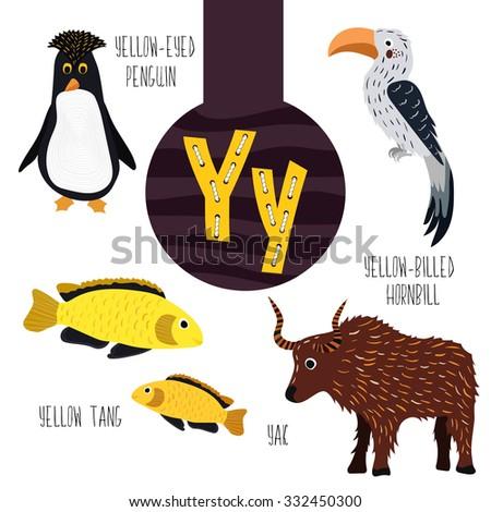 fun animal letters alphabet development learning stock vector