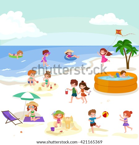 Fun At Summer Beach Happy Cartoon Kids Playing Sand Around Water Vector Illustration Cute