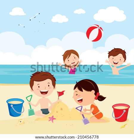 Fun at the beach. Happy kids building sand castles and playing beach ball. - stock vector