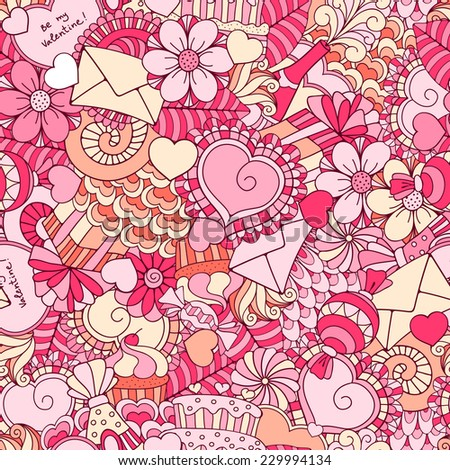 Fun, bright and original festive seamless background for Valentines day, made in the doodle style. Vector. - stock vector
