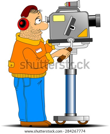 fun cameraman shoots in red headphones TV report - stock vector