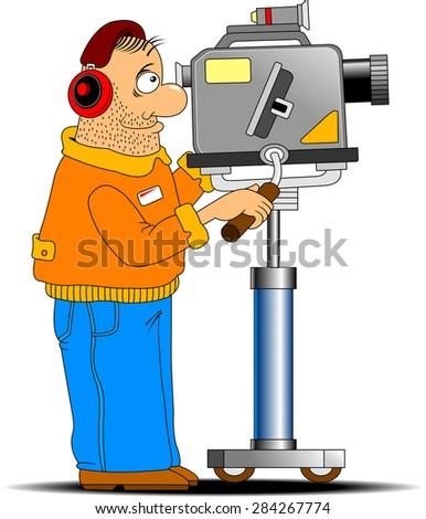 fun cameraman shoots in red headphones TV report - stock vector