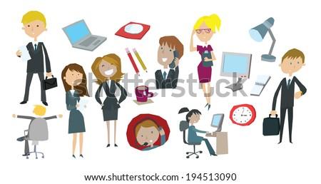 Fun Cartoon Business Office Clip Art Illustration - stock vector