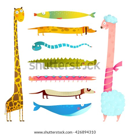 Fun Cartoon Long Animals Illustration Collection for Kids Design. Set of hand drawn horizontal and vertical animals for children. Watercolor style drawing. Vector EPS10. - stock vector
