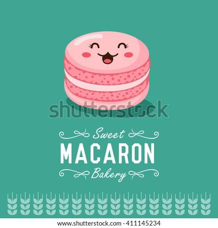Fun cartoon macaron. Bakery and pastry cartoon character. Vector illustration.    - stock vector