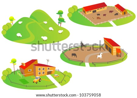 Fun cartoon map elements: Farms. Each building and ground are in the separate layer. (set #11) - stock vector