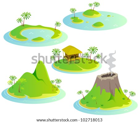 Fun cartoon map elements: islands. Each element and water are in the separate layer. (set #8)