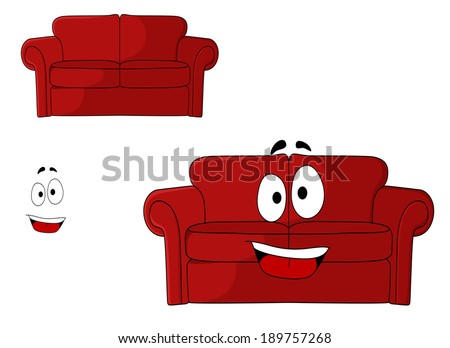 Fun cartoon upholstered red couch, settee or sofa with a big happy smile isolated on white - stock vector